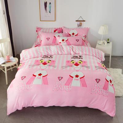 2018新款卡通风法兰绒四件套 2.0m(6.6英尺)床 粉红豹
