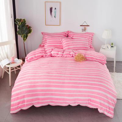 2018新款卡通风法兰绒四件套 2.0m(6.6英尺)床 粉色空间