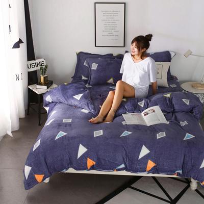2018新款卡通风法兰绒四件套 1.2m(4英尺)床(三件套) 几何空间