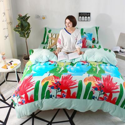 2018新款卡通风法兰绒四件套 1.2m(4英尺)床(三件套) 沙漠绿影