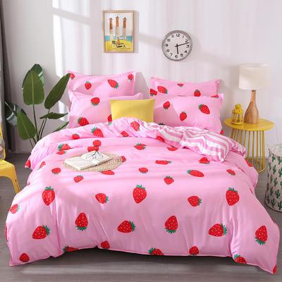 2018新款芦荟棉单品床单 160cmx230cm 奶油草莓