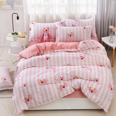 2018新款芦荟棉单品床单 160cmx230cm 条纹粉红豹