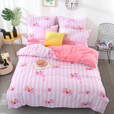 2018新款芦荟棉四件套 1.0m(3.3英尺)床 条纹粉红豹