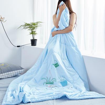2019新款大版水洗夏被 150x200cm 盆景-蓝