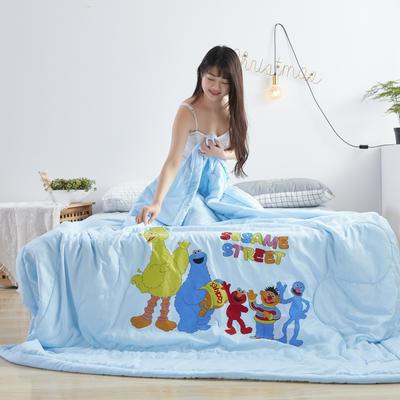 2019新款大版水洗夏被 150x200cm 芝麻街-蓝