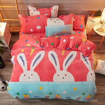 2019新款法莱绒花型四件套 1.2m(4英尺)床单款三件套 大耳兔