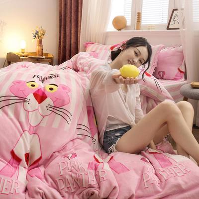 2019新款法莱绒花型四件套 1.2m(4英尺)床单款三件套 粉红豹