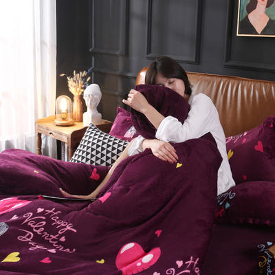 2019新款法莱绒花型四件套 1.2m(4英尺)床单款三件套 花季少女