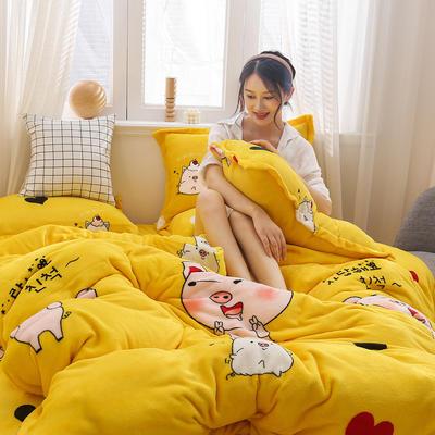 2019新款法莱绒花型四件套 1.2m(4英尺)床单款三件套 金猪