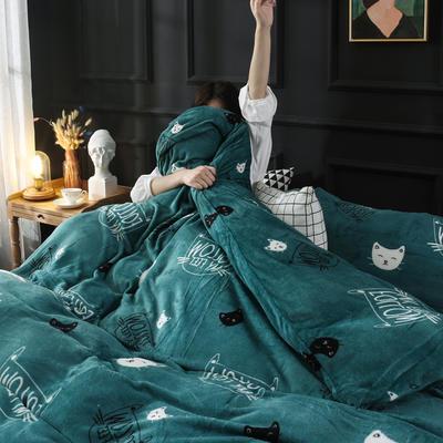 2019新款法莱绒花型四件套 1.2m(4英尺)床单款三件套 猫咪诱惑