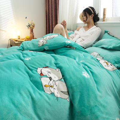 2019新款法莱绒花型四件套 1.2m(4英尺)床单款三件套 萌鼠