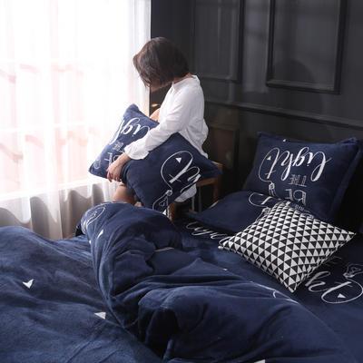 2019新款法莱绒花型四件套 1.2m(4英尺)床单款三件套 深邃