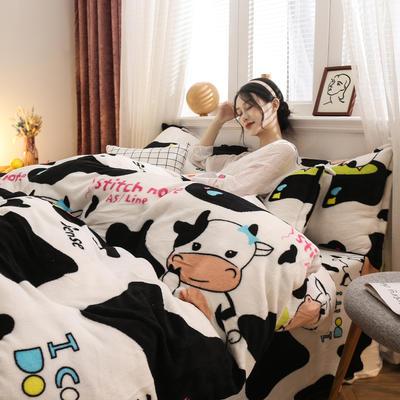 2019新款法莱绒花型四件套 1.2m(4英尺)床单款三件套 小奶牛