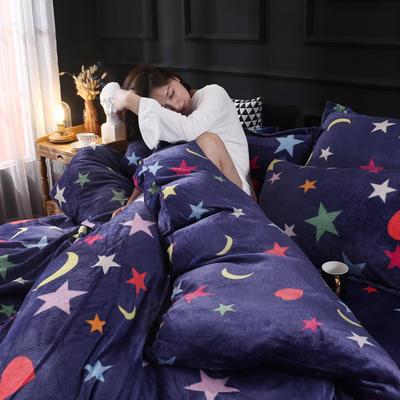 2019新款法莱绒花型四件套 1.2m(4英尺)床单款三件套 星心相印