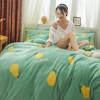 2019新款法莱绒花型四件套 1.2m(4英尺)床单款三件套 雪梨