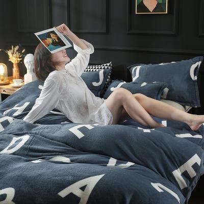 2019新款法莱绒花型四件套 1.2m(4英尺)床单款三件套 字母游戏