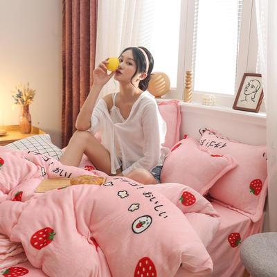 2019新款法莱绒花型单被套 1.5m 草莓甜心