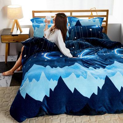 2019新款法莱绒花型四件套 1.2m(4英尺)床单款三件套 晚安