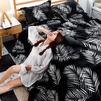 2019新款法莱绒花型四件套 1.2m(4英尺)床单款三件套 夜语