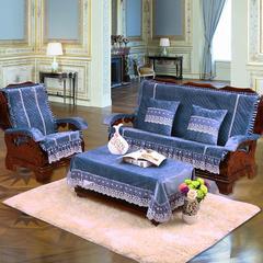 短毛绒沙发垫 三人180cm 宝蓝色