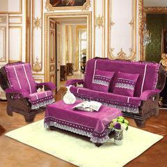 短毛绒沙发垫 三人200cm 紫色