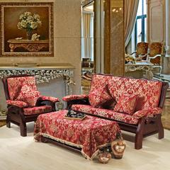 雪尼尔沙发垫 单人60cm 红大花