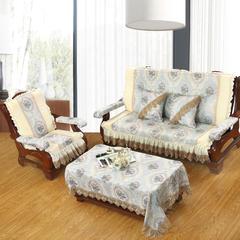 装饰布拼接沙发垫-罗马假日 三人150cm 蓝灰