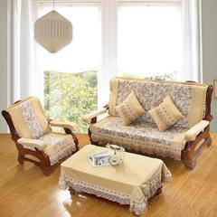 装饰布毛绒沙发垫-富贵花开 三人160cm 驼色