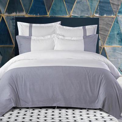 80S纯棉棉麻宾馆四件套 1.0m(3.3英尺)床 亚麻大蓝