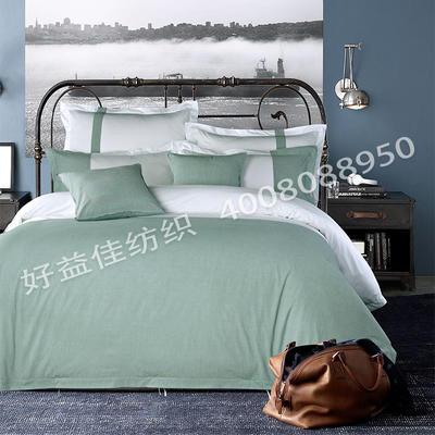80S纯棉棉麻宾馆四件套 2.0m(6.6英尺)床 亚麻大绿