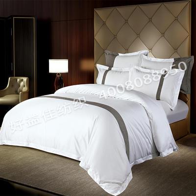 80S纯棉棉麻宾馆四件套 2.0m(6.6英尺)床 亚麻小灰