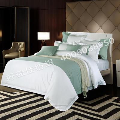 80S纯棉棉麻宾馆四件套 2.0m(6.6英尺)床 亚麻小绿