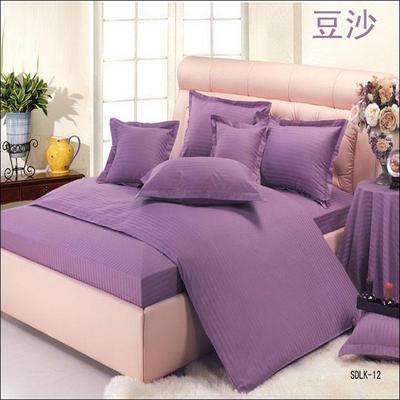 纯色缎条系列四件套 1.5m(5英尺)床 豆沙