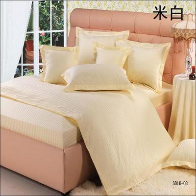 纯色缎条系列四件套 1.5m(5英尺)床 米白