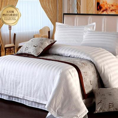 纯色缎条系列四件套 1.5m(5英尺)床 白