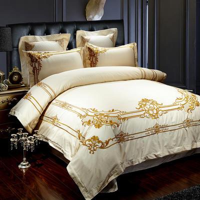 金黄大版绣花四件套 2.0m(6.6英尺)床 米白