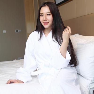 全棉割绒浴袍 S 纯白