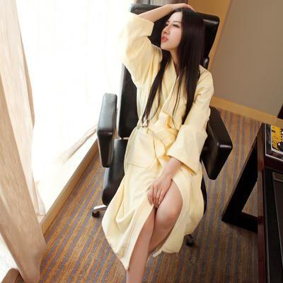 全棉割绒浴袍 S 米黄