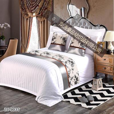 酒店布草60s40s三公分缎条床旗床尾巾 1.0m(3.3英尺)床 白