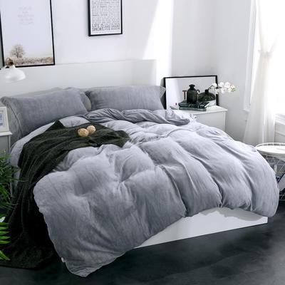 全棉拉舍尔纯色款四件套 1.8m(6英尺)床 灰色