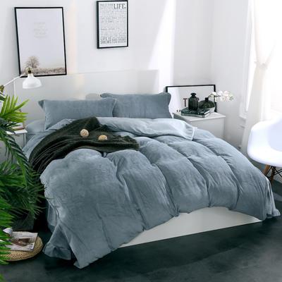 全棉拉舍尔纯色款四件套 1.8m(6英尺)床 蓝灰