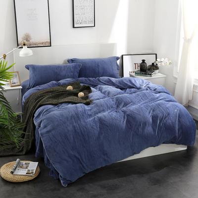 全棉拉舍尔纯色款四件套 1.8m(6英尺)床 深蓝
