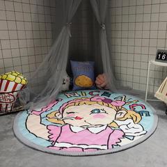 圆岛家纺小清新圆形加厚地垫宝宝爬行垫(自拍女孩) 直径150cm 自拍女孩