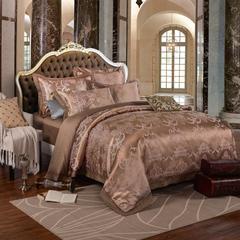 贡缎提花系列四件套 1.5m(5英尺)床 华丽星空 咖啡