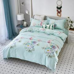 天丝四件套 2.0m-2.2m床 花样美季-绿