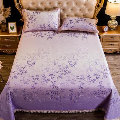 2019新款蕾丝床单款可水洗机洗冰丝席三件套 250*250cm 一叶金舟紫