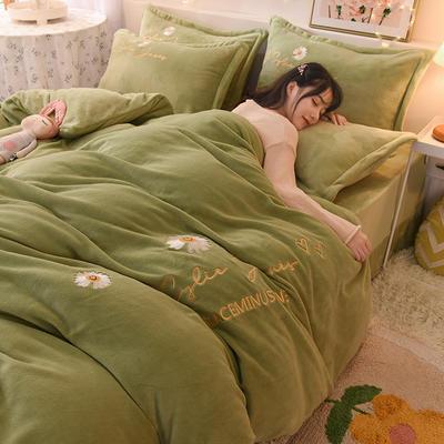 2020新款专版刺绣小雏菊系列牛奶绒四件套 1.8m床单款四件套 小雏菊-抹茶绿