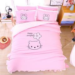 (总)苏米娜 韩版绣花磨毛四件套 1.5m(5英尺)床 花朵KT-粉色