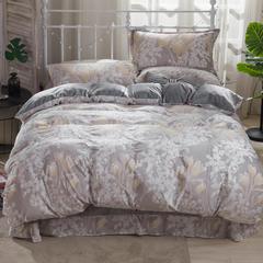 (总)2018新款 6D牛奶绒雕花四件套 宝宝绒法莱绒水晶绒 1.5m(5英尺)床 花意满枝