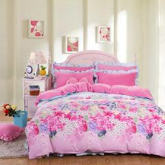 (总) 韩版花边法莱绒四件套苏米娜法兰绒套件水晶绒雕花绒 2.0m(6.6英尺)床 金粉世家